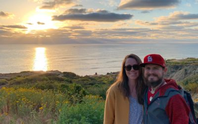 My husband and I at sunset on the cliffs